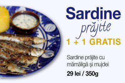 Sardine prăjite cu mămăliguță și mujdei 1+1